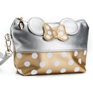 Minnie Mouse Gold & Silver Makeup Cosmetic Bag